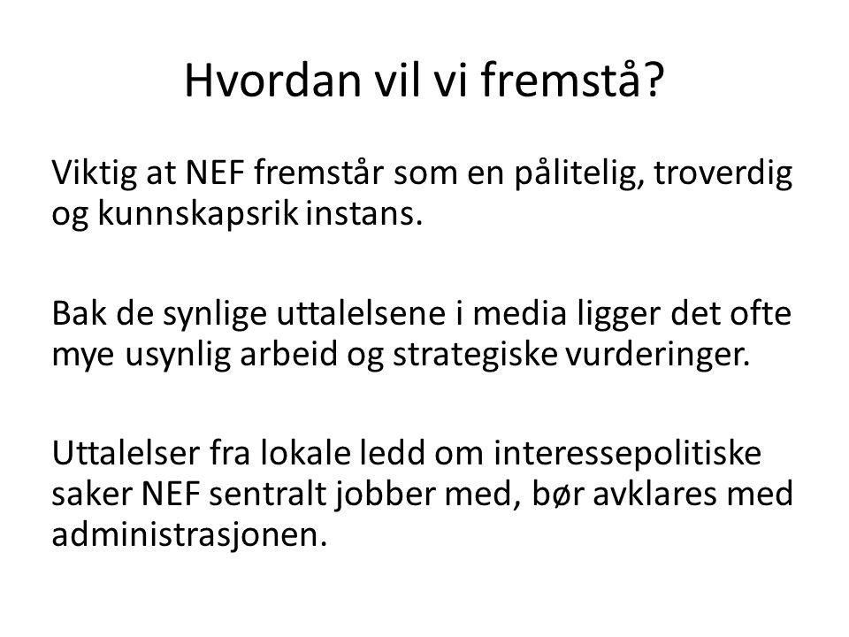 Hvordan vil vi fremstå. Viktig at NEF fremstår som en pålitelig, troverdig og kunnskapsrik instans.