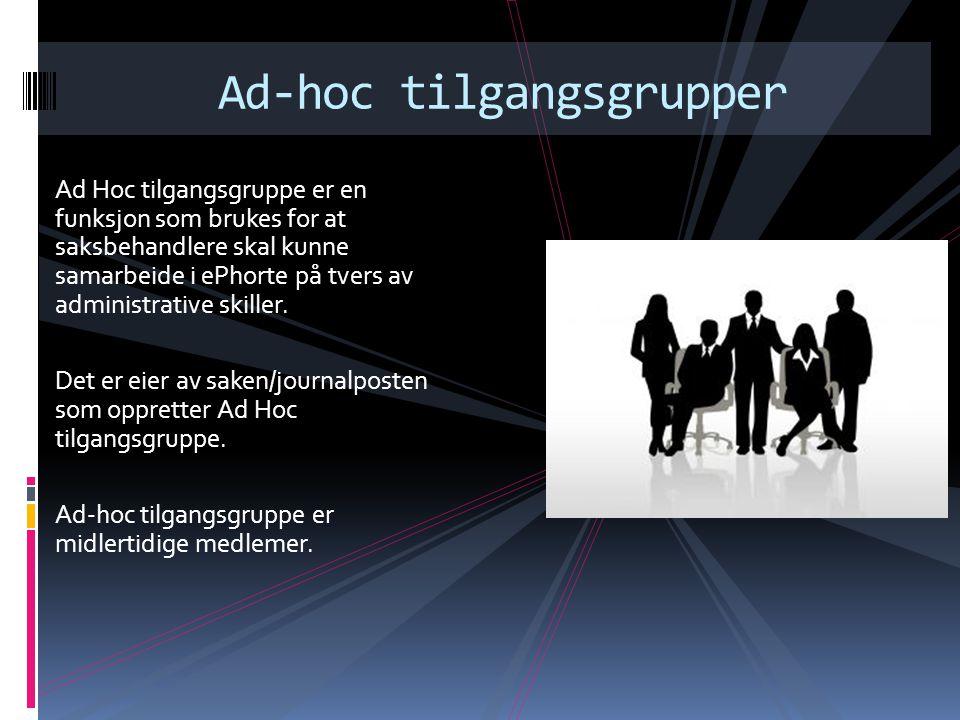 Ad Hoc tilgangsgruppe er en funksjon som brukes for at saksbehandlere skal kunne samarbeide i ePhorte på tvers av administrative skiller.