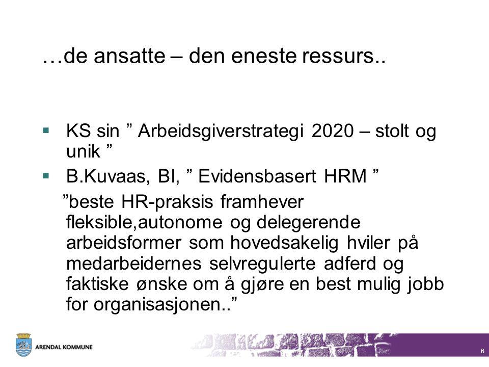 """6 …de ansatte – den eneste ressurs..  KS sin """" Arbeidsgiverstrategi 2020 – stolt og unik """"  B.Kuvaas, BI, """" Evidensbasert HRM """" """"beste HR-praksis fr"""