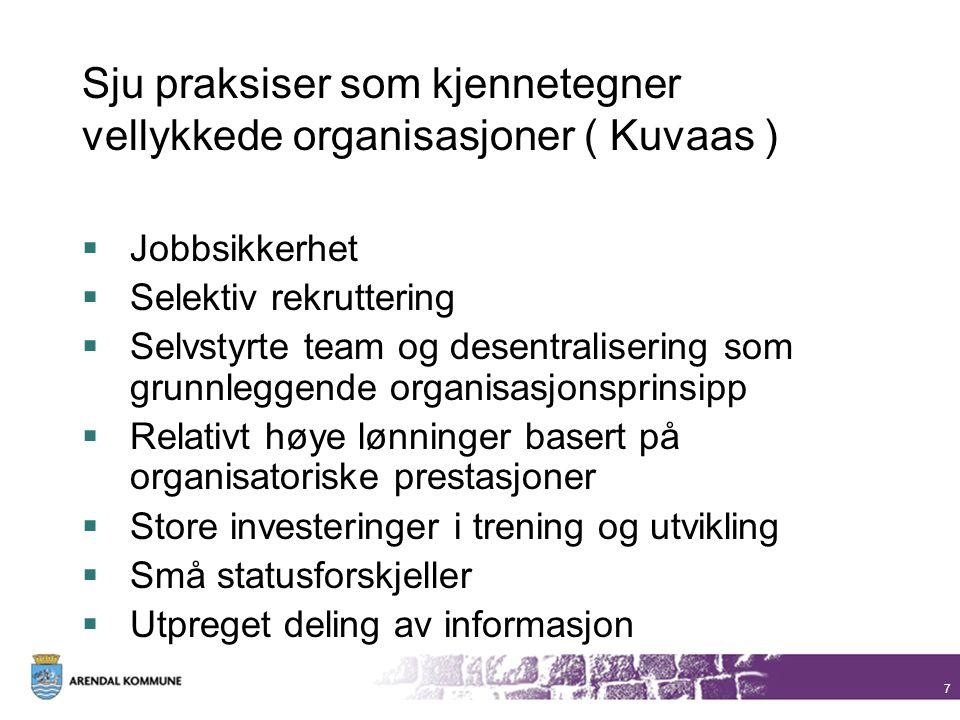 7 Sju praksiser som kjennetegner vellykkede organisasjoner ( Kuvaas )  Jobbsikkerhet  Selektiv rekruttering  Selvstyrte team og desentralisering so