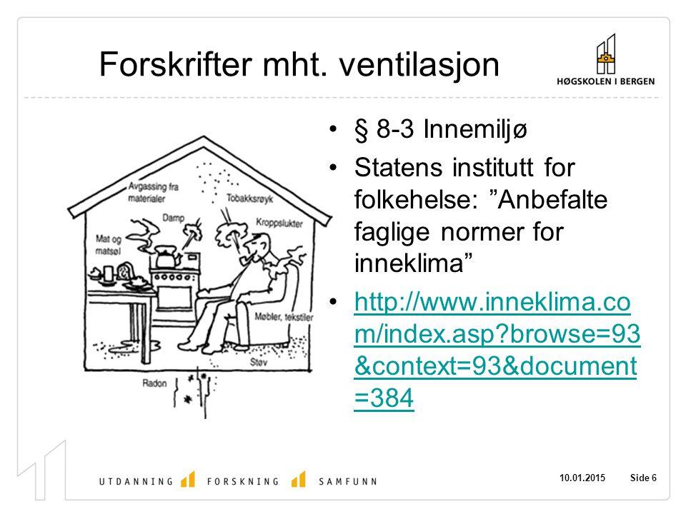 """10.01.2015 Side 6 Forskrifter mht. ventilasjon § 8-3 Innemiljø Statens institutt for folkehelse: """"Anbefalte faglige normer for inneklima"""" http://www.i"""