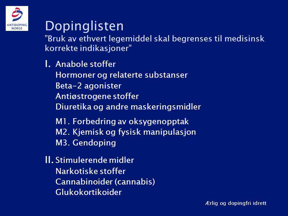 Ærlig og dopingfri idrett Dopinglisten Bruk av ethvert legemiddel skal begrenses til medisinsk korrekte indikasjoner I.