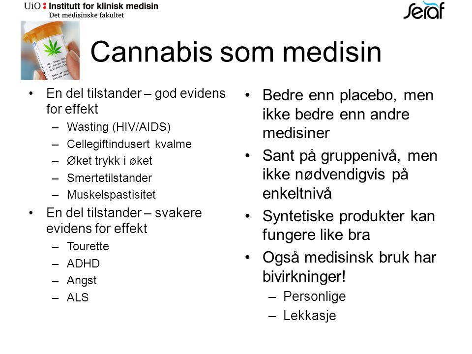 Cannabis som medisin En del tilstander – god evidens for effekt –Wasting (HIV/AIDS) –Cellegiftindusert kvalme –Øket trykk i øket –Smertetilstander –Muskelspastisitet En del tilstander – svakere evidens for effekt –Tourette –ADHD –Angst –ALS Bedre enn placebo, men ikke bedre enn andre medisiner Sant på gruppenivå, men ikke nødvendigvis på enkeltnivå Syntetiske produkter kan fungere like bra Også medisinsk bruk har bivirkninger.