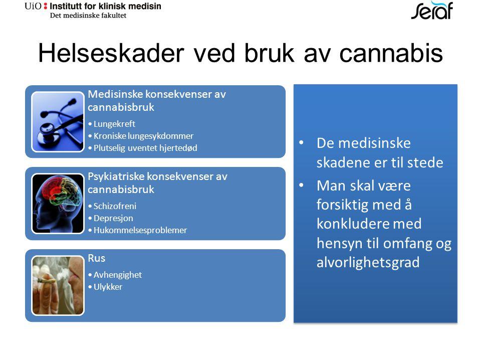 Helseskader ved bruk av cannabis Medisinske konsekvenser av cannabisbruk Lungekreft Kroniske lungesykdommer Plutselig uventet hjertedød Psykiatriske konsekvenser av cannabisbruk Schizofreni Depresjon Hukommelsesproblemer Rus Avhengighet Ulykker De medisinske skadene er til stede Man skal være forsiktig med å konkludere med hensyn til omfang og alvorlighetsgrad De medisinske skadene er til stede Man skal være forsiktig med å konkludere med hensyn til omfang og alvorlighetsgrad