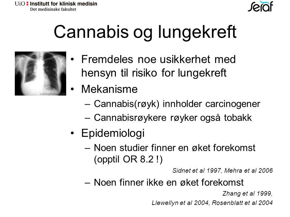 Cannabis og lungekreft Fremdeles noe usikkerhet med hensyn til risiko for lungekreft Mekanisme – Cannabis(røyk) innholder carcinogener – Cannabisrøykere røyker også tobakk Epidemiologi – Noen studier finner en øket forekomst (opptil OR 8.2 !) Sidnet et al 1997, Mehra et al 2006 – Noen finner ikke en øket forekomst Zhang et al 1999, Llewellyn et al 2004, Rosenblatt et al 2004