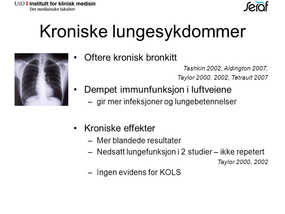 Kroniske lungesykdommer Oftere kronisk bronkitt Tashkin 2002, Aldington 2007, Taylor 2000, 2002, Tetrault 2007 Dempet immunfunksjon i luftveiene – gir mer infeksjoner og lungebetennelser Kroniske effekter – Mer blandede resultater – Nedsatt lungefunksjon i 2 studier – ikke repetert Taylor 2000, 2002 – Ingen evidens for KOLS