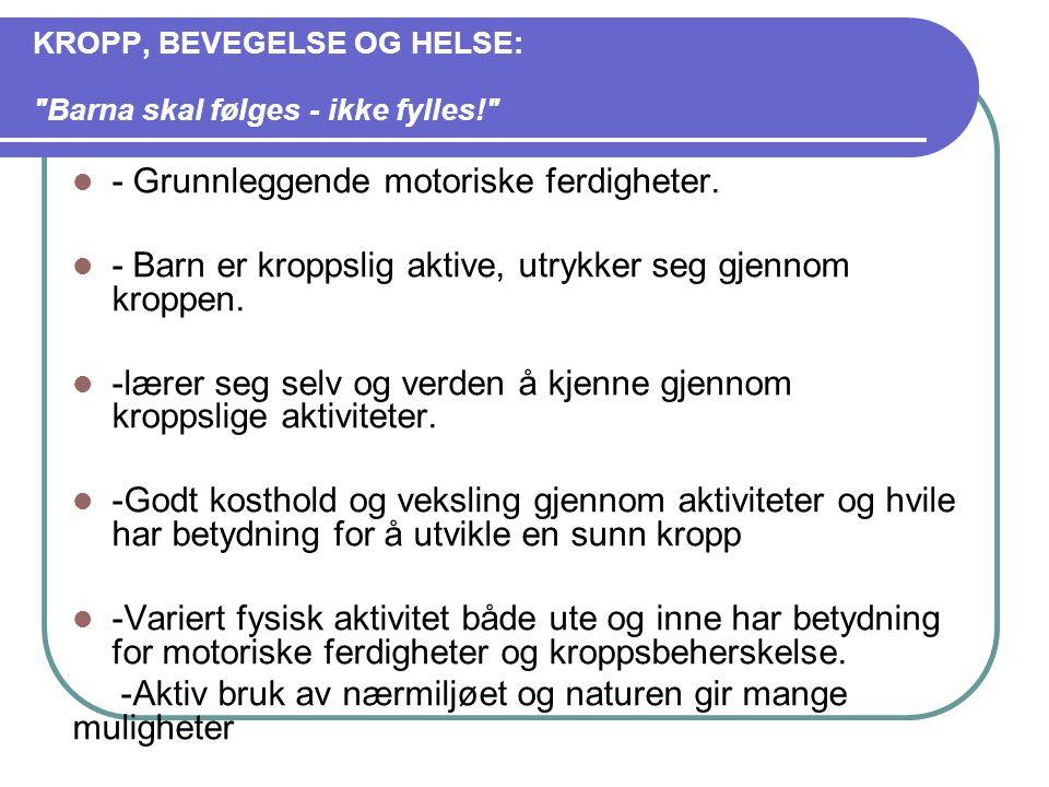 KROPP, BEVEGELSE OG HELSE: Barna skal følges - ikke fylles! - Grunnleggende motoriske ferdigheter.