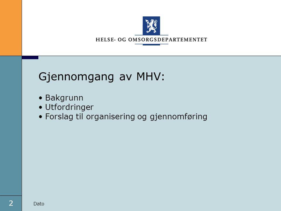 2 Dato Gjennomgang av MHV: Bakgrunn Utfordringer Forslag til organisering og gjennomføring Dato