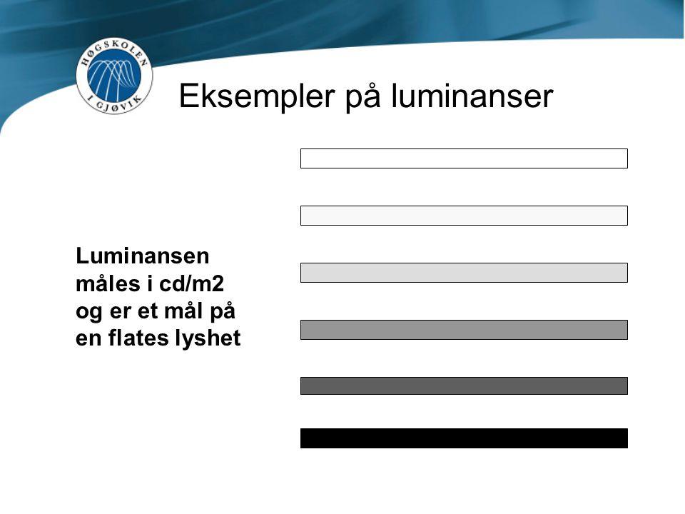 Eksempler på luminanser Luminansen måles i cd/m2 og er et mål på en flates lyshet