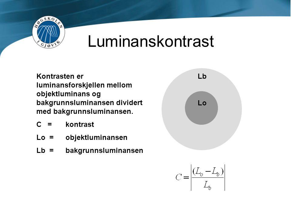 Luminanskontrast Lb Lo Kontrasten er luminansforskjellen mellom objektluminans og bakgrunnsluminansen dividert med bakgrunnsluminansen. C = kontrast L
