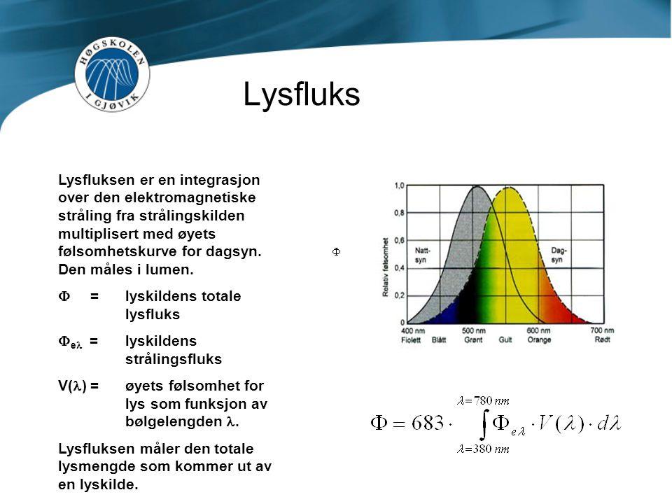 Lysfluks Lysfluksen er en integrasjon over den elektromagnetiske stråling fra strålingskilden multiplisert med øyets følsomhetskurve for dagsyn. Den m