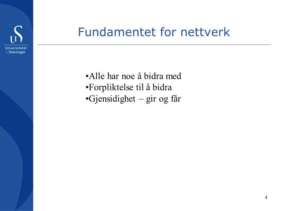 4 Fundamentet for nettverk Alle har noe å bidra med Forpliktelse til å bidra Gjensidighet – gir og får