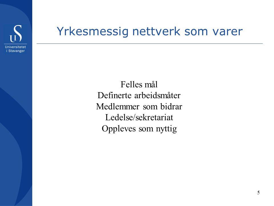 5 Yrkesmessig nettverk som varer Felles mål Definerte arbeidsmåter Medlemmer som bidrar Ledelse/sekretariat Oppleves som nyttig