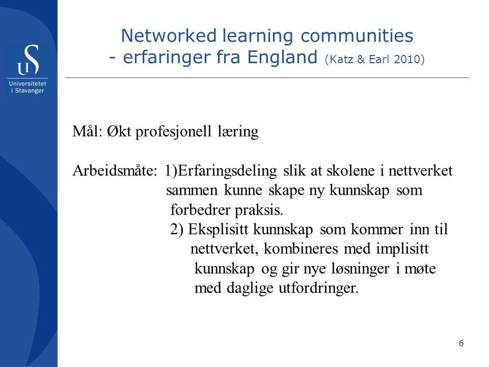 6 Networked learning communities - erfaringer fra England (Katz & Earl 2010) Mål: Økt profesjonell læring Arbeidsmåte: 1)Erfaringsdeling slik at skolene i nettverket sammen kunne skape ny kunnskap som forbedrer praksis.