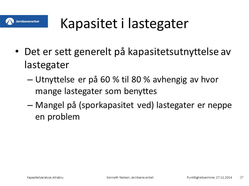 Kapasitet i lastegater Det er sett generelt på kapasitetsutnyttelse av lastegater – Utnyttelse er på 60 % til 80 % avhengig av hvor mange lastegater s