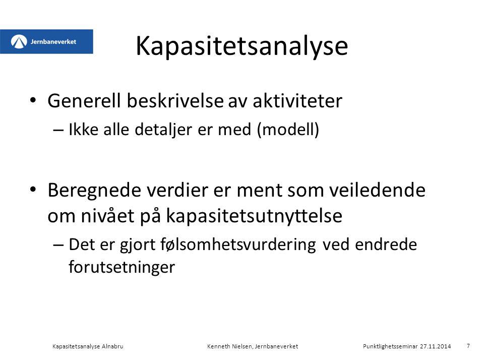 Oversiktskart Kapasitetsanalyse AlnabruKenneth Nielsen, Jernbaneverket Punktlighetsseminar 27.11.2014 C-spor (lastegater) G-spor R-spor A-spor Verksted Mot Grefsen Mot Bryn 8