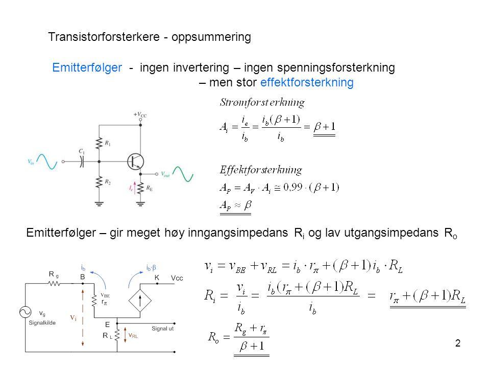 2 Transistorforsterkere - oppsummering Emitterfølger - ingen invertering – ingen spenningsforsterkning – men stor effektforsterkning Emitterfølger – g