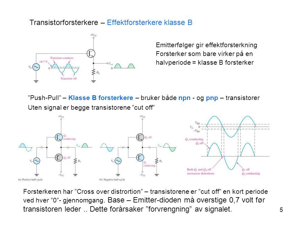 """5 Transistorforsterkere – Effektforsterkere klasse B """"Push-Pull"""" – Klasse B forsterkere – bruker både npn - og pnp – transistorer Uten signal er begge"""