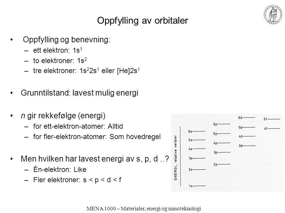 MENA 1000 – Materialer, energi og nanoteknologi Oppfylling av orbitaler Oppfylling og benevning: –ett elektron: 1s 1 –to elektroner: 1s 2 –tre elektro
