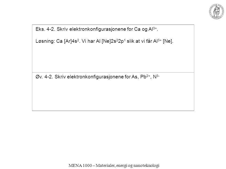 MENA 1000 – Materialer, energi og nanoteknologi Eks. 4-2. Skriv elektronkonfigurasjonene for Ca og Al 3+. Løsning: Ca [Ar]4s 2. Vi har Al [Ne]2s 2 2p