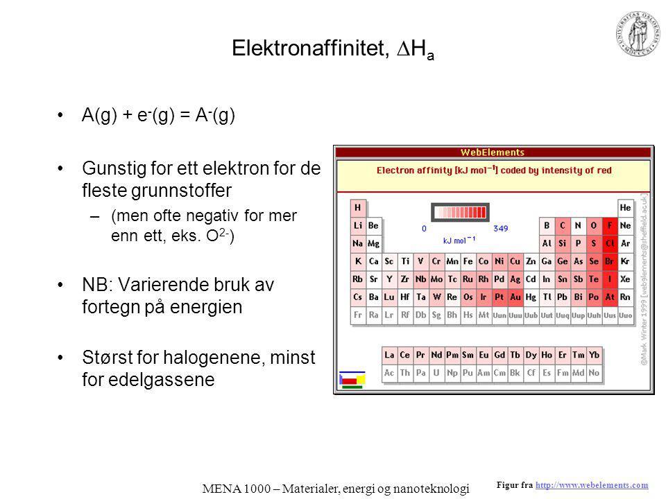 MENA 1000 – Materialer, energi og nanoteknologi Elektronaffinitet,  H a A(g) + e - (g) = A - (g) Gunstig for ett elektron for de fleste grunnstoffer