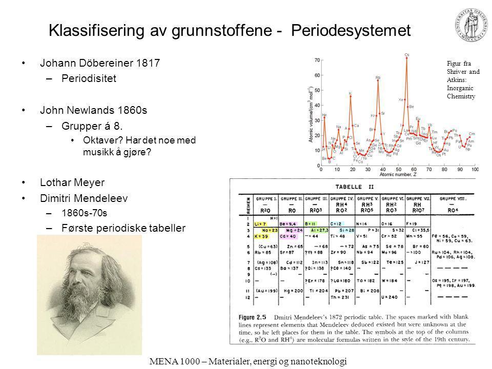 MENA 1000 – Materialer, energi og nanoteknologi Klassifisering av grunnstoffene - Periodesystemet Johann Döbereiner 1817 –Periodisitet John Newlands 1