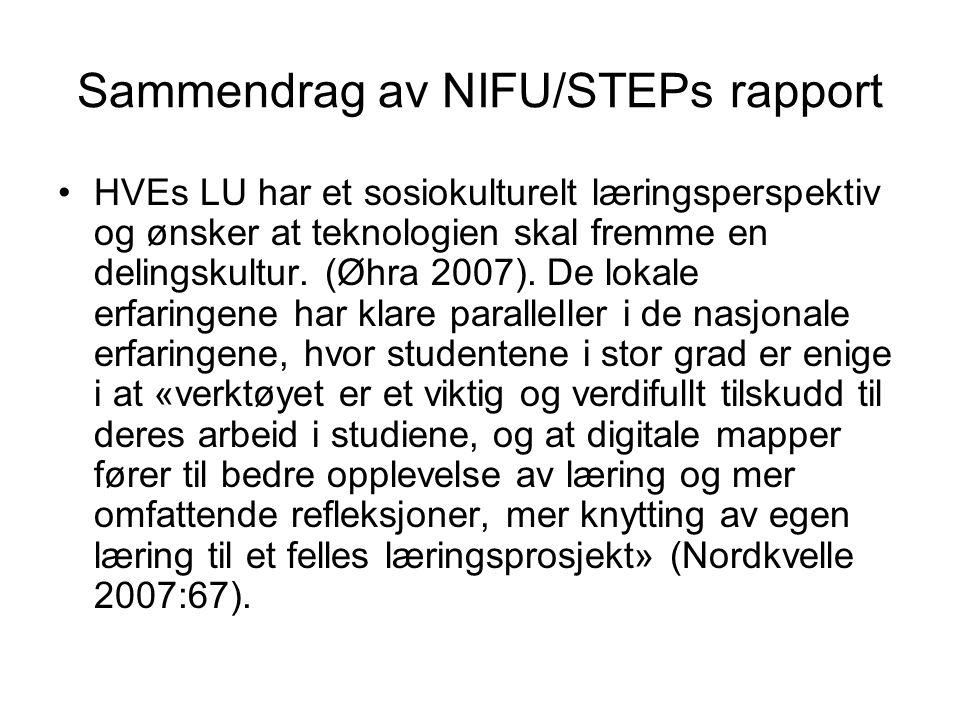 Sammendrag av NIFU/STEPs rapport HVEs LU har et sosiokulturelt læringsperspektiv og ønsker at teknologien skal fremme en delingskultur.