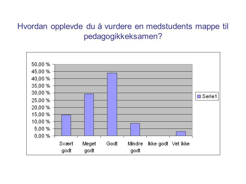 Hvordan opplevde du å vurdere en medstudents mappe til pedagogikkeksamen