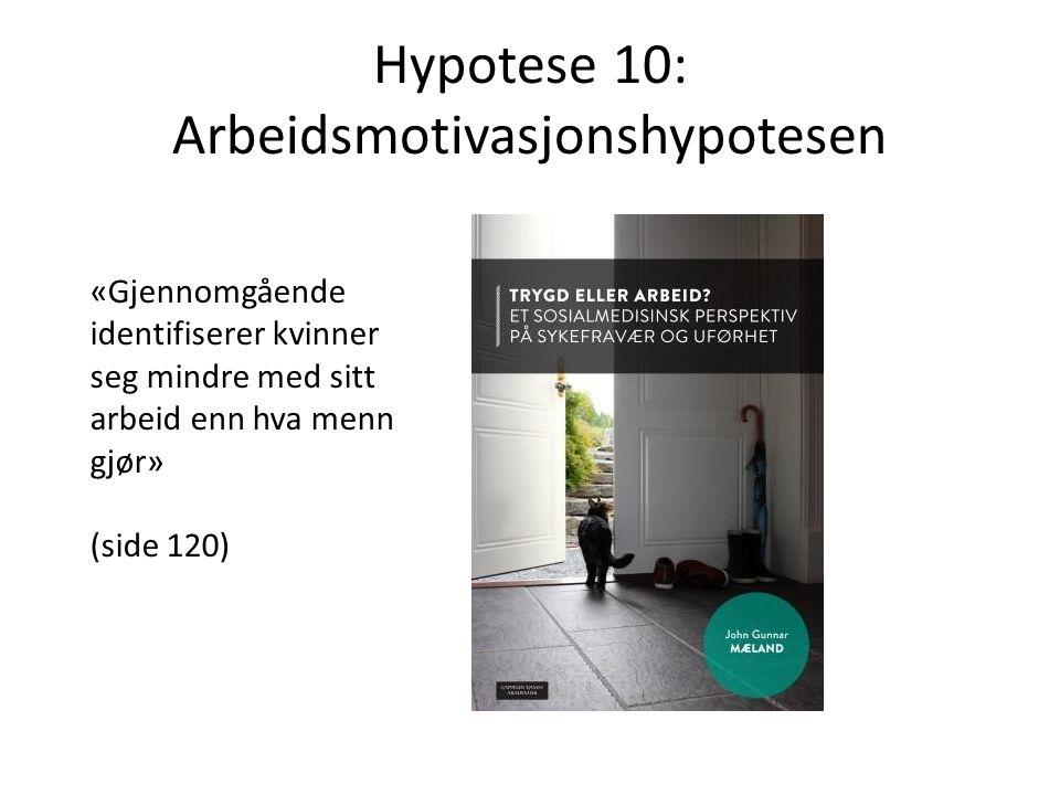 Hypotese 10: Arbeidsmotivasjonshypotesen «Gjennomgående identifiserer kvinner seg mindre med sitt arbeid enn hva menn gjør» (side 120)