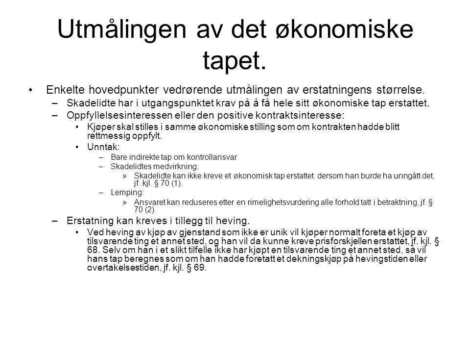 Dag 15 - Mislighold fra kjøpers side etter kjøpsloven Tre former for kontraktsbrudd: –Manglende betaling.