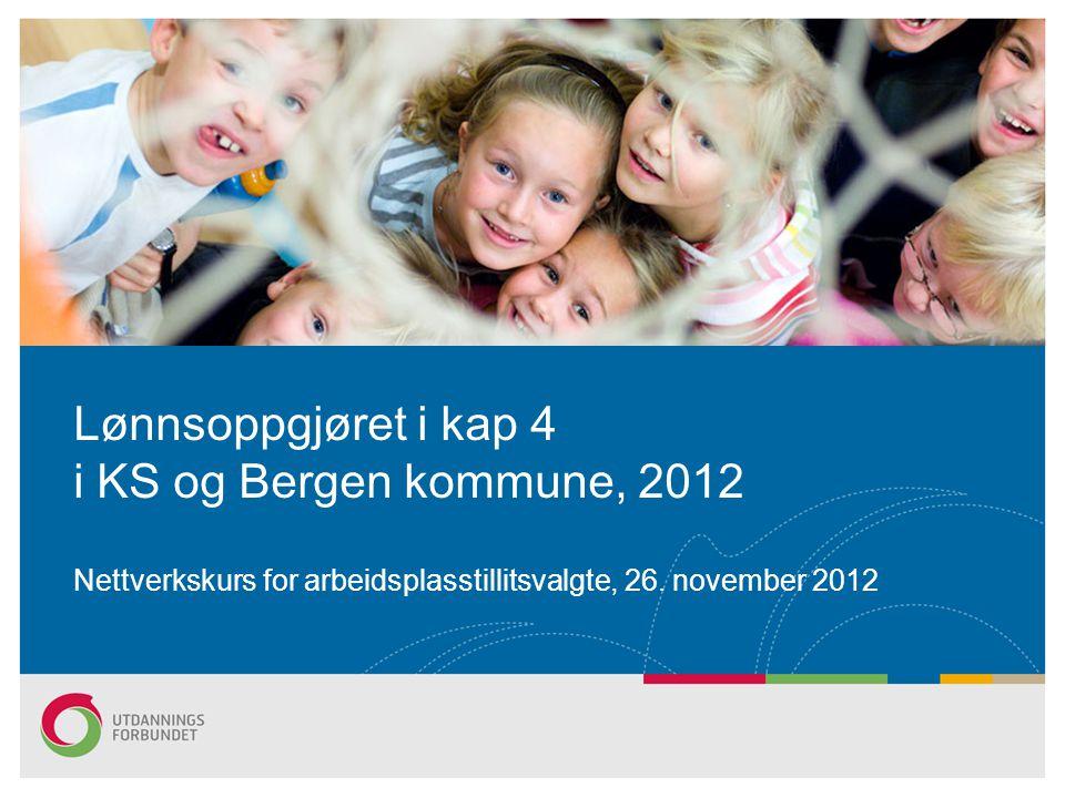 Resultat sentralt, kapittel 4 Til ansatte med stilling i HTA kapittel 4 gis et generelt tillegg på 2,7 % av den enkeltes grunnlønn pr 30.4.2012, dog minst kr 12 000.