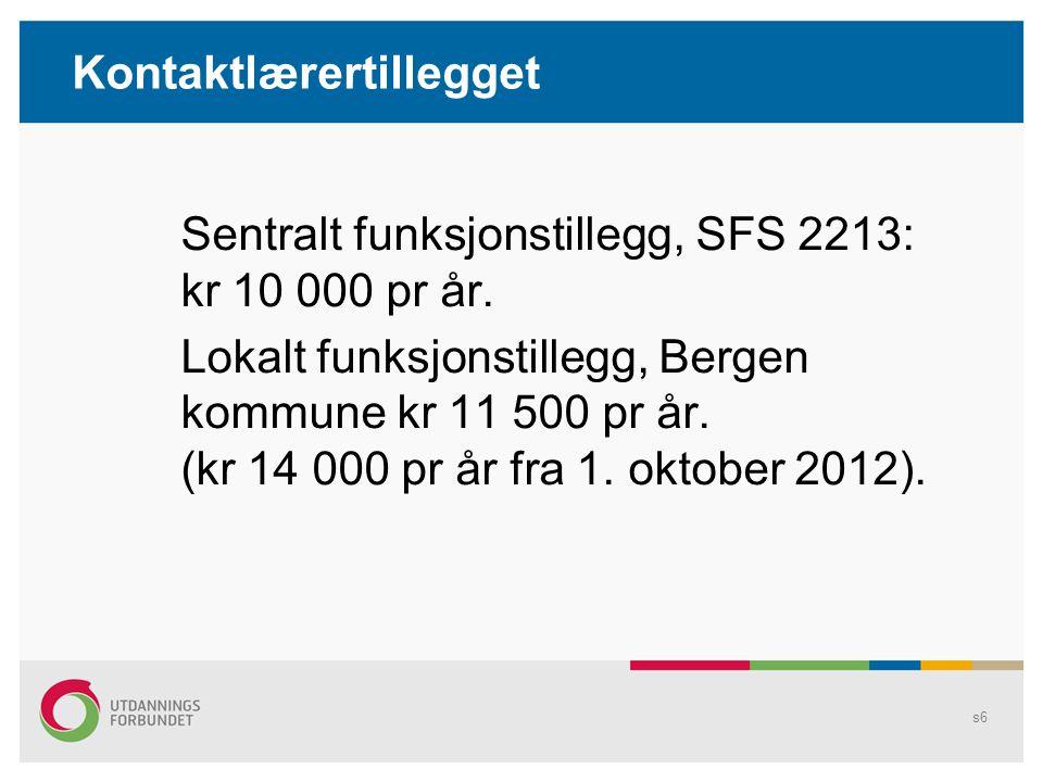 Kontaktlærertillegget Sentralt funksjonstillegg, SFS 2213: kr 10 000 pr år.