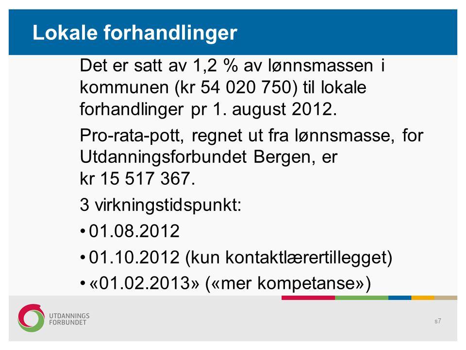 Lokale forhandlinger Det er satt av 1,2 % av lønnsmassen i kommunen (kr 54 020 750) til lokale forhandlinger pr 1.
