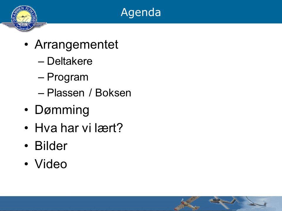 Agenda Arrangementet –Deltakere –Program –Plassen / Boksen Dømming Hva har vi lært? Bilder Video