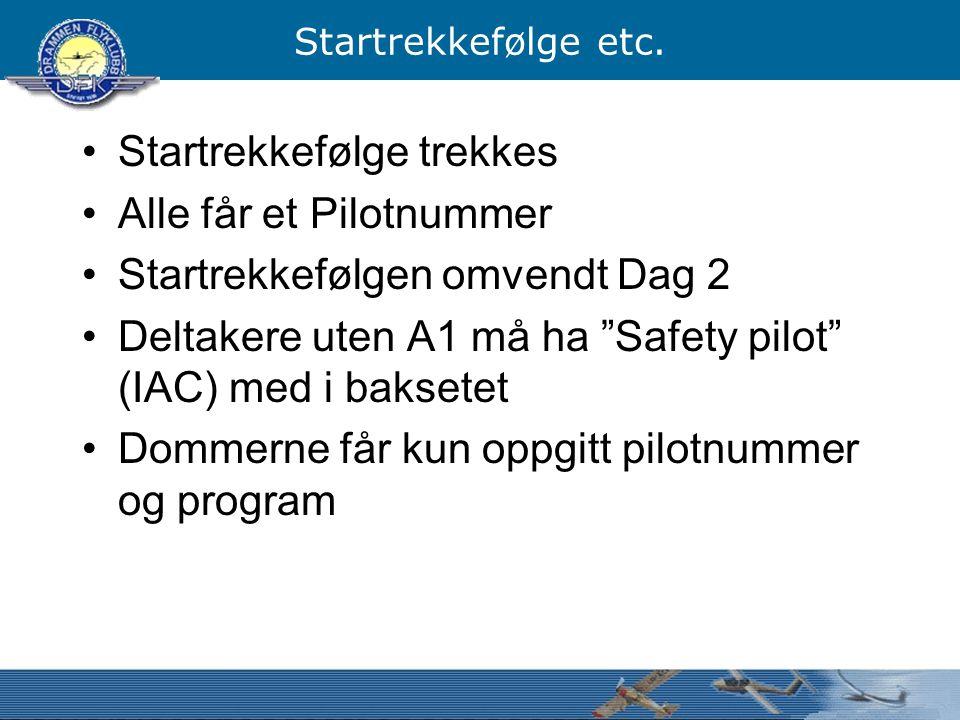 """Startrekkefølge etc. Startrekkefølge trekkes Alle får et Pilotnummer Startrekkefølgen omvendt Dag 2 Deltakere uten A1 må ha """"Safety pilot"""" (IAC) med i"""