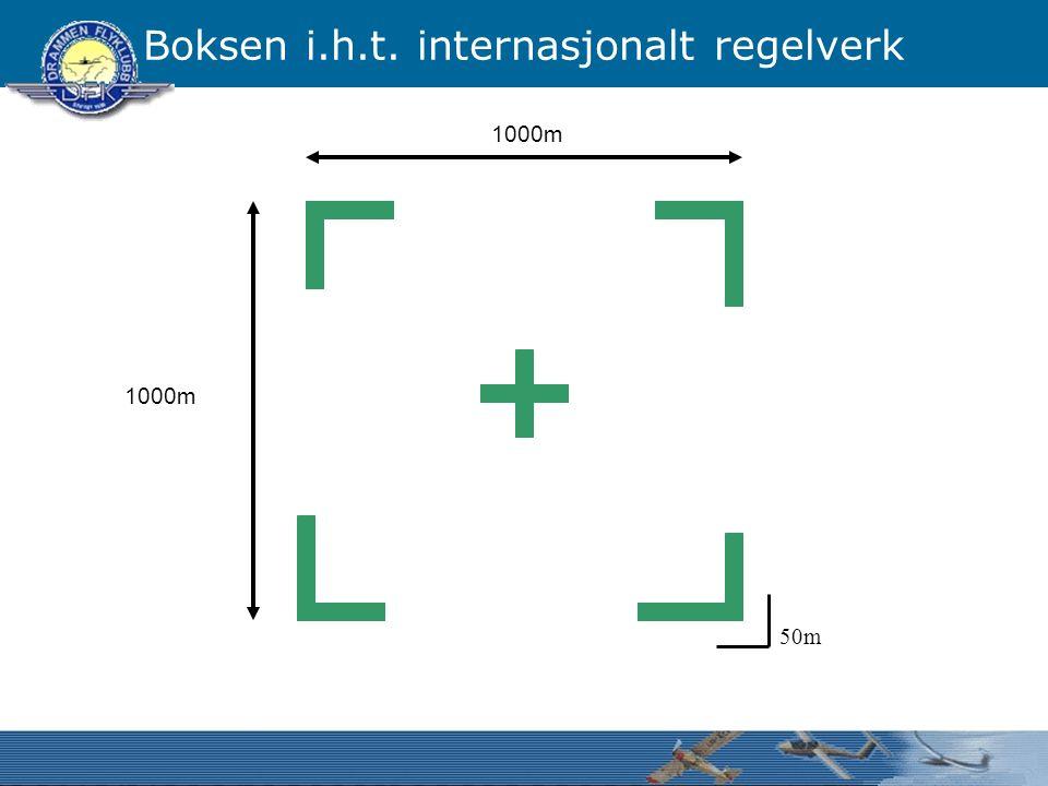 Boksen i.h.t. internasjonalt regelverk 1000m 50m
