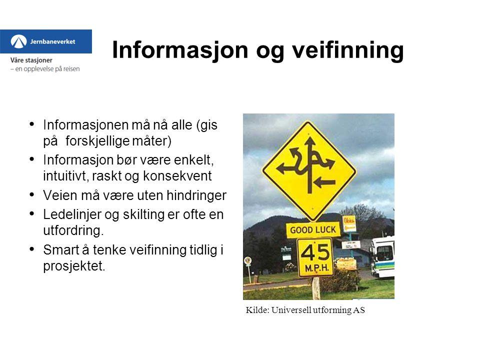 Informasjon og veifinning Informasjonen må nå alle (gis på forskjellige måter) Informasjon bør være enkelt, intuitivt, raskt og konsekvent Veien må være uten hindringer Ledelinjer og skilting er ofte en utfordring.