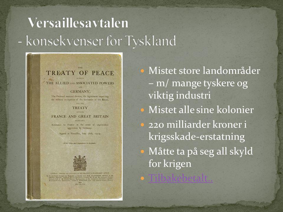 Mistet store landområder – m/ mange tyskere og viktig industri Mistet alle sine kolonier 220 milliarder kroner i krigsskade-erstatning Måtte ta på seg all skyld for krigen Tilbakebetalt..