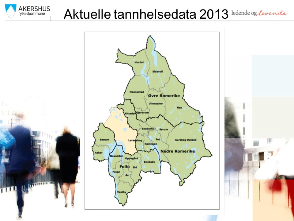 Tannhelsedata pr kommune 5år – % dmft=0 Fet90,1 Aurskog-Høland90 Nes88,5 Nesodden88 Sørum87,4 Bærum87,2 Oppegård86,2 Nittedal86 Asker85,5 Frogn85,5 Vestby85,1 Hurdal84,2 Enebakk83,9 AFK83,8 Ullensaker83,7 Norge82,9 Gjerdrum81,6 Lørenskog81,5 Skedsmo77,8 Ski77,2 Rælingen77 Ås76,5 Nannestad73,2 Oslo69,8 Eidsvoll62,4