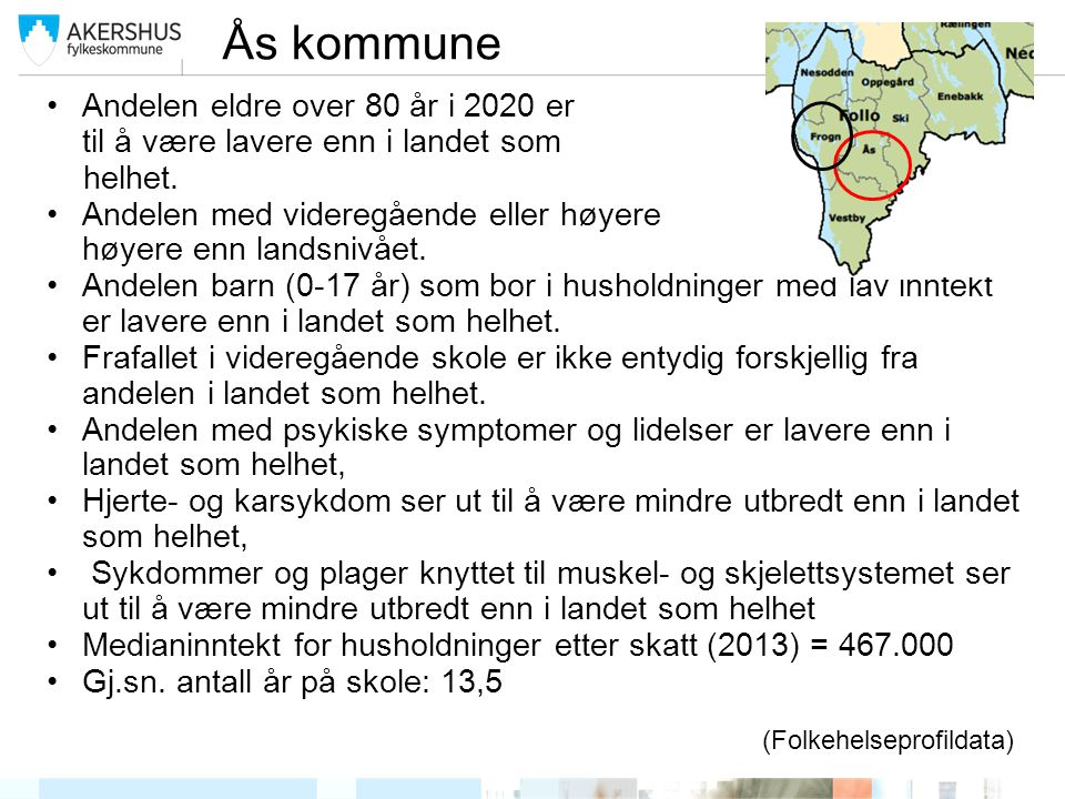 Ås kommune Andelen eldre over 80 år i 2020 er estimert til å være lavere enn i landet som helhet. Andelen med videregående eller høyere utdanning er h