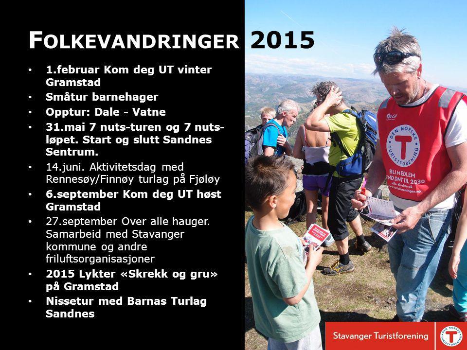 F OLKEVANDRINGER 2015 1.februar Kom deg UT vinter Gramstad Småtur barnehager Opptur: Dale - Vatne 31.mai 7 nuts-turen og 7 nuts- løpet.