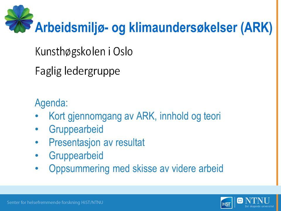 Agenda: Kort gjennomgang av ARK, innhold og teori Gruppearbeid Presentasjon av resultat Gruppearbeid Oppsummering med skisse av videre arbeid Arbeidsm