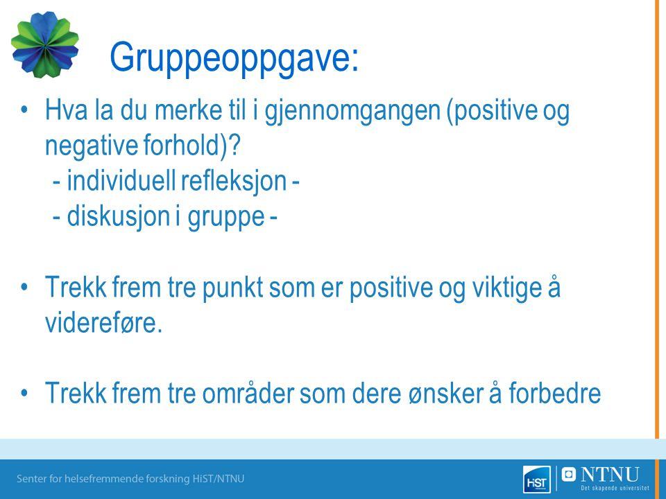Gruppeoppgave: Hva la du merke til i gjennomgangen (positive og negative forhold)? - individuell refleksjon - - diskusjon i gruppe - Trekk frem tre pu