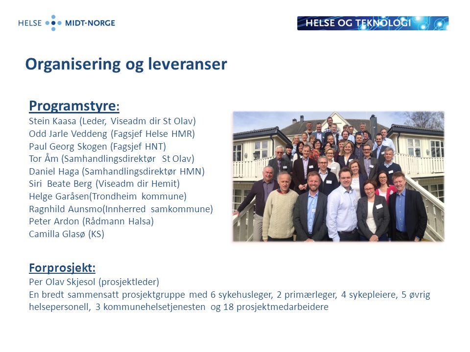 Organisering og leveranser Programstyre : Stein Kaasa (Leder, Viseadm dir St Olav) Odd Jarle Veddeng (Fagsjef Helse HMR) Paul Georg Skogen (Fagsjef HN