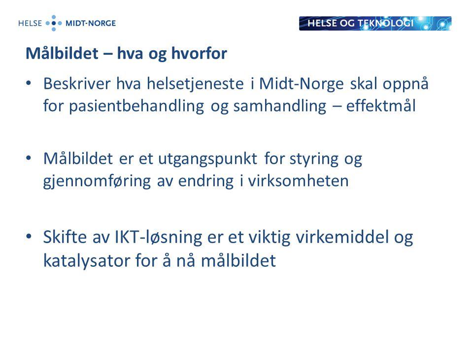 Målbildet – hva og hvorfor Beskriver hva helsetjeneste i Midt-Norge skal oppnå for pasientbehandling og samhandling – effektmål Målbildet er et utgangspunkt for styring og gjennomføring av endring i virksomheten Skifte av IKT-løsning er et viktig virkemiddel og katalysator for å nå målbildet