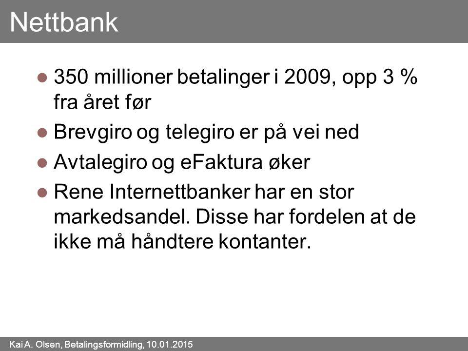 Kai A. Olsen, Betalingsformidling, 10.01.2015 45 Nettbank 350 millioner betalinger i 2009, opp 3 % fra året før Brevgiro og telegiro er på vei ned Avt
