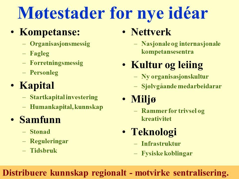 Eit norsk pilotprosjekt: For nyskaping –Kampanje for gründarar –Frå idear til etablering.