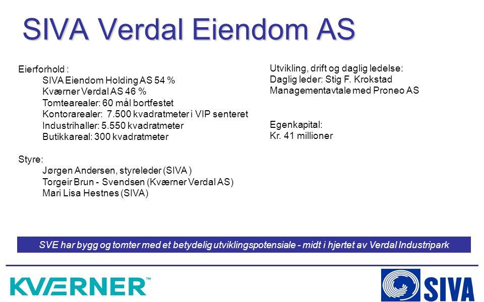 SIVA Verdal Eiendom AS Eierforhold : SIVA Eiendom Holding AS 54 % Kværner Verdal AS 46 % Tomtearealer: 60 mål bortfestet Kontorarealer: 7.500 kvadratm