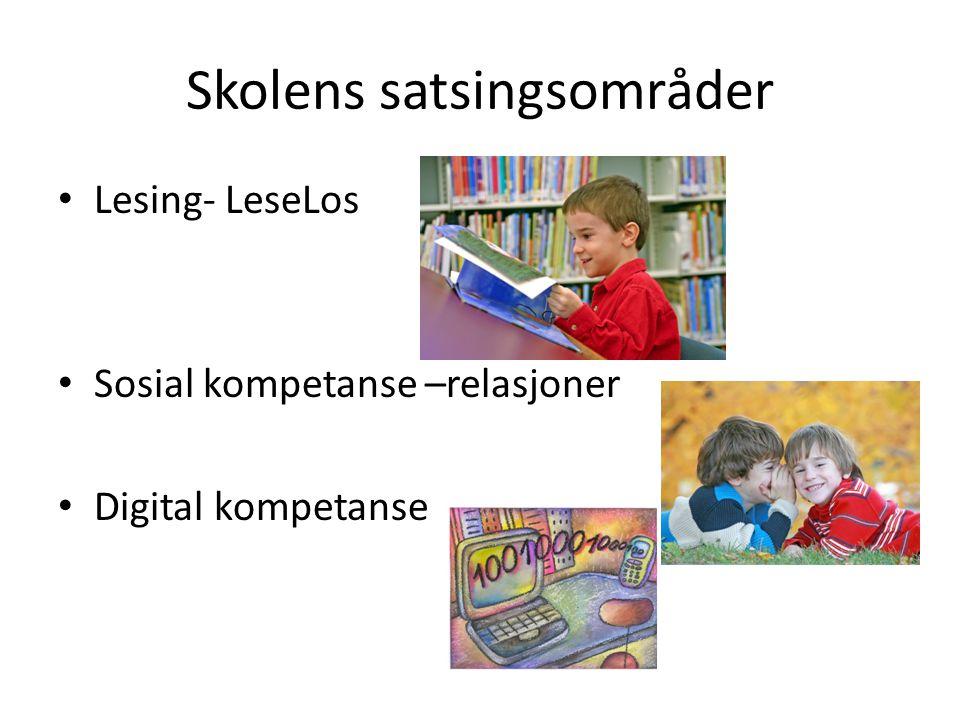 Skolens satsingsområder Lesing- LeseLos Sosial kompetanse –relasjoner Digital kompetanse