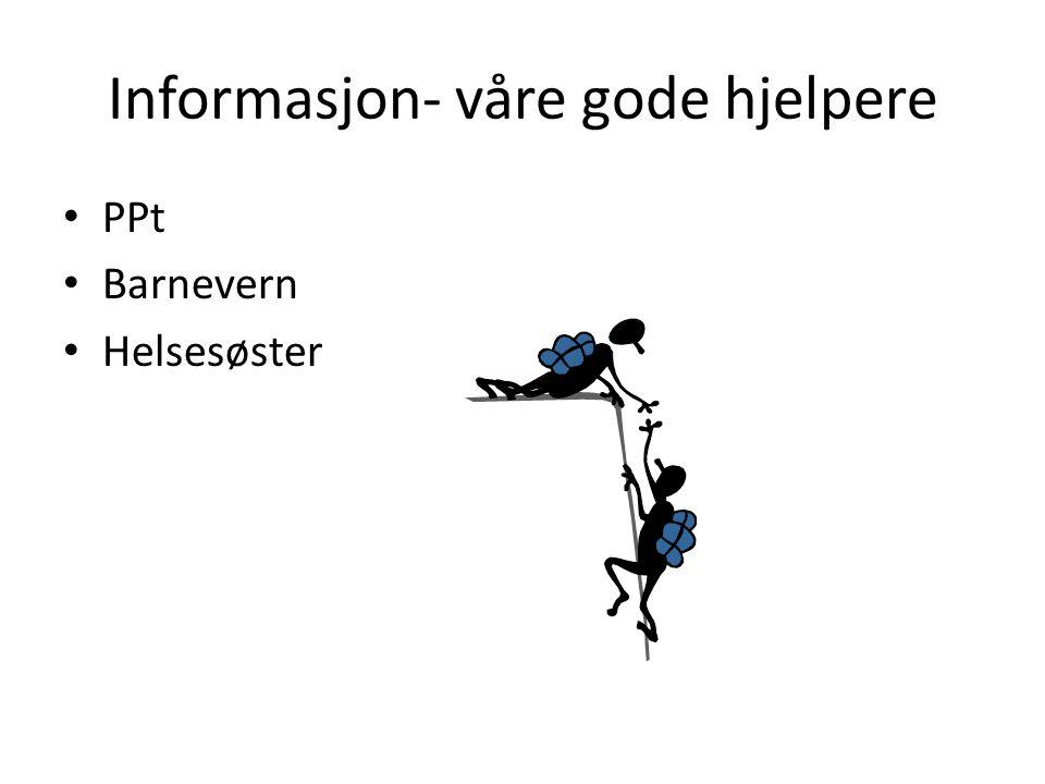 Informasjon- våre gode hjelpere PPt Barnevern Helsesøster
